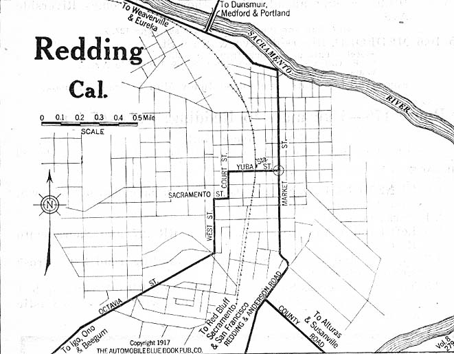 Redding City Map, California, United States 1917