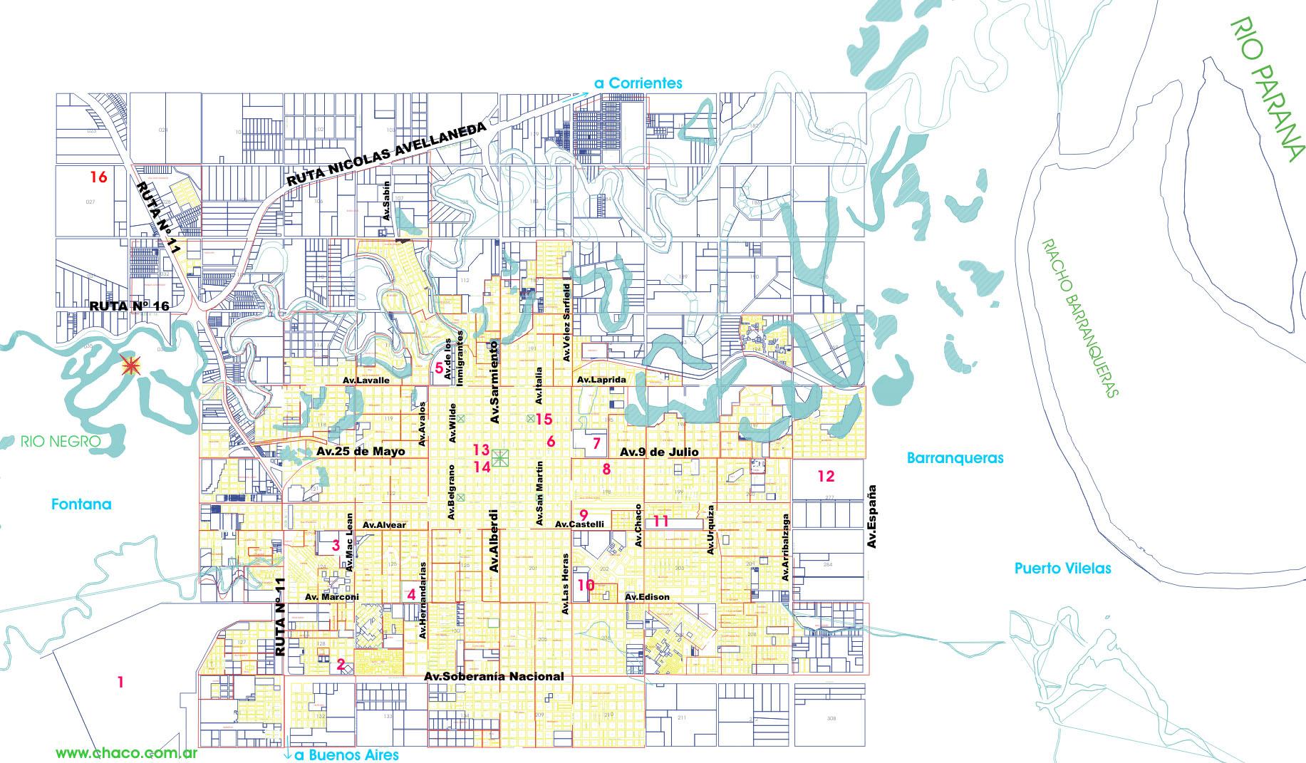 Resistencia City Map, Chaco Prov., Argentina