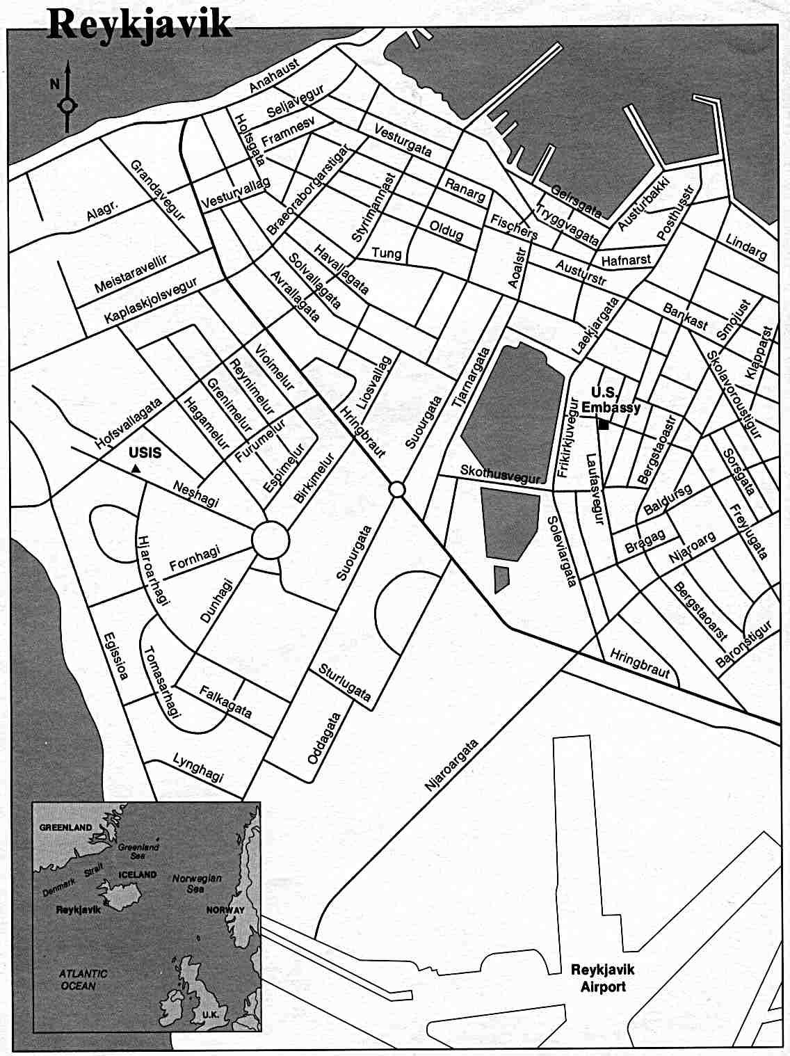 Reykjavik City Map, Iceland