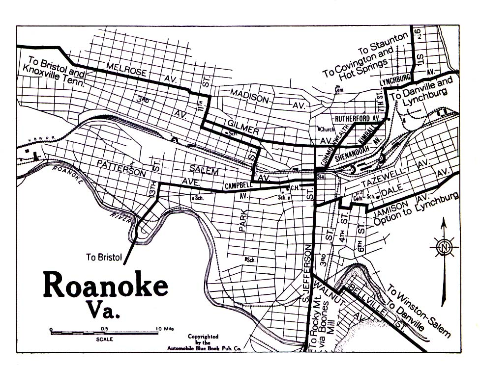 Mapa de la Ciudad de Roanoke, Virginia, Estados Unidos 1919