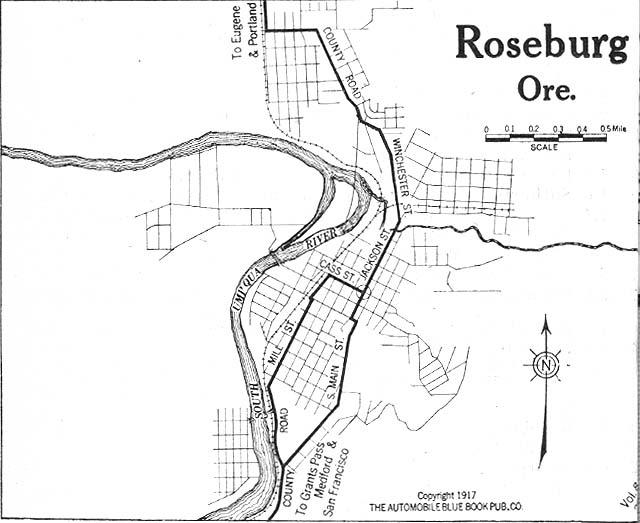 Roseburg City Map, Oregon, United States 1917
