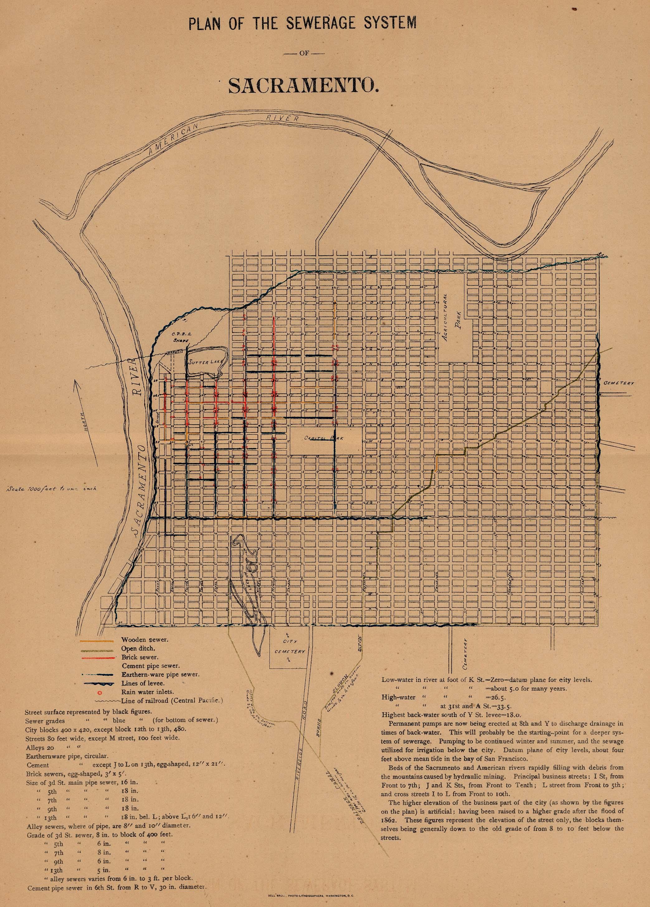 Mapa de la Ciudad de Sacramento, California, Estados Unidos 1880