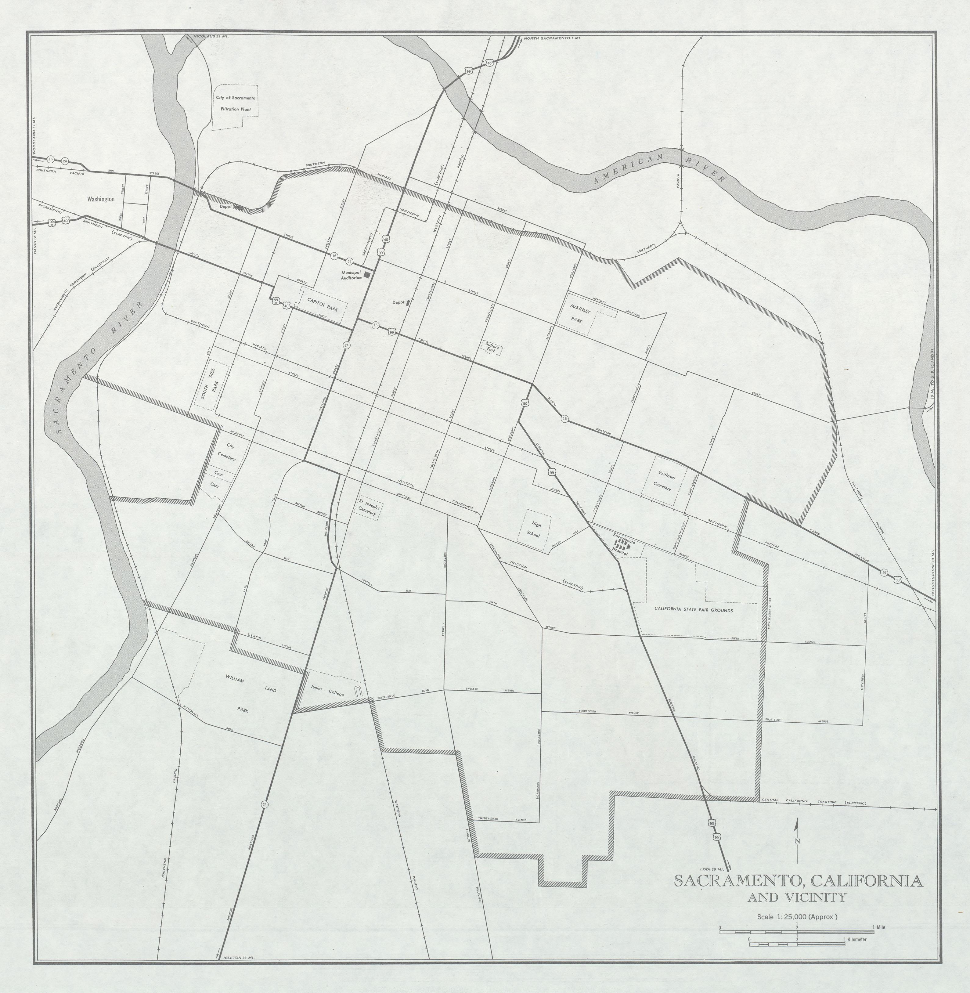 Mapa de la Ciudad de Sacramento y Cercanías, California, Estados Unidos 1947