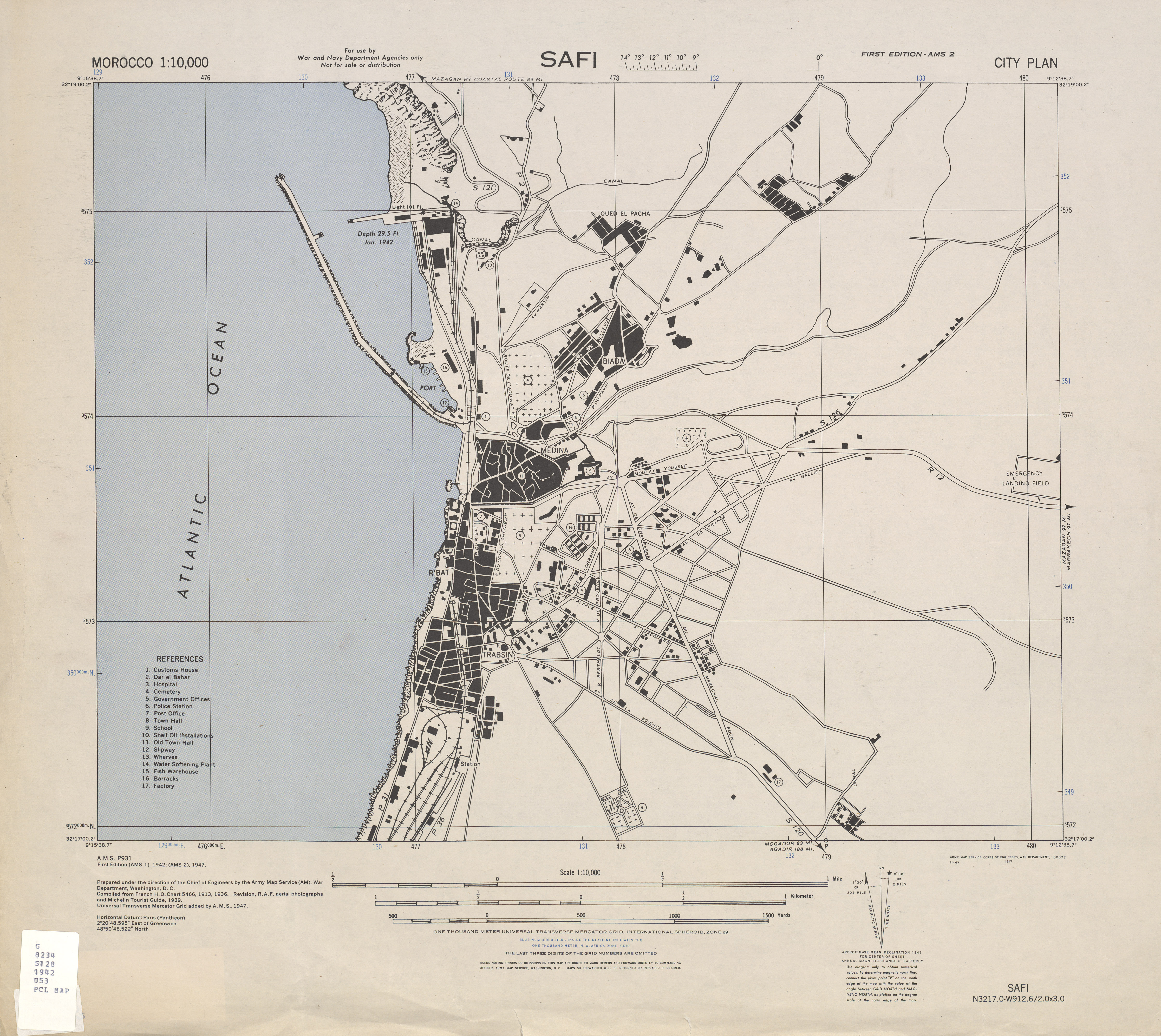 Safi City Map, Morocco 1947