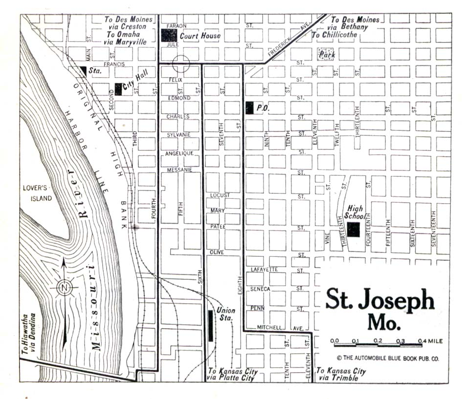Saint Joseph City Map, Missouri, United States 1920