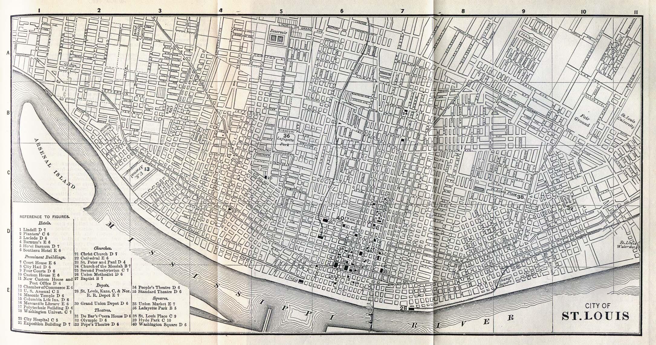 Saint Louis City Map, Missouri, United States 1885