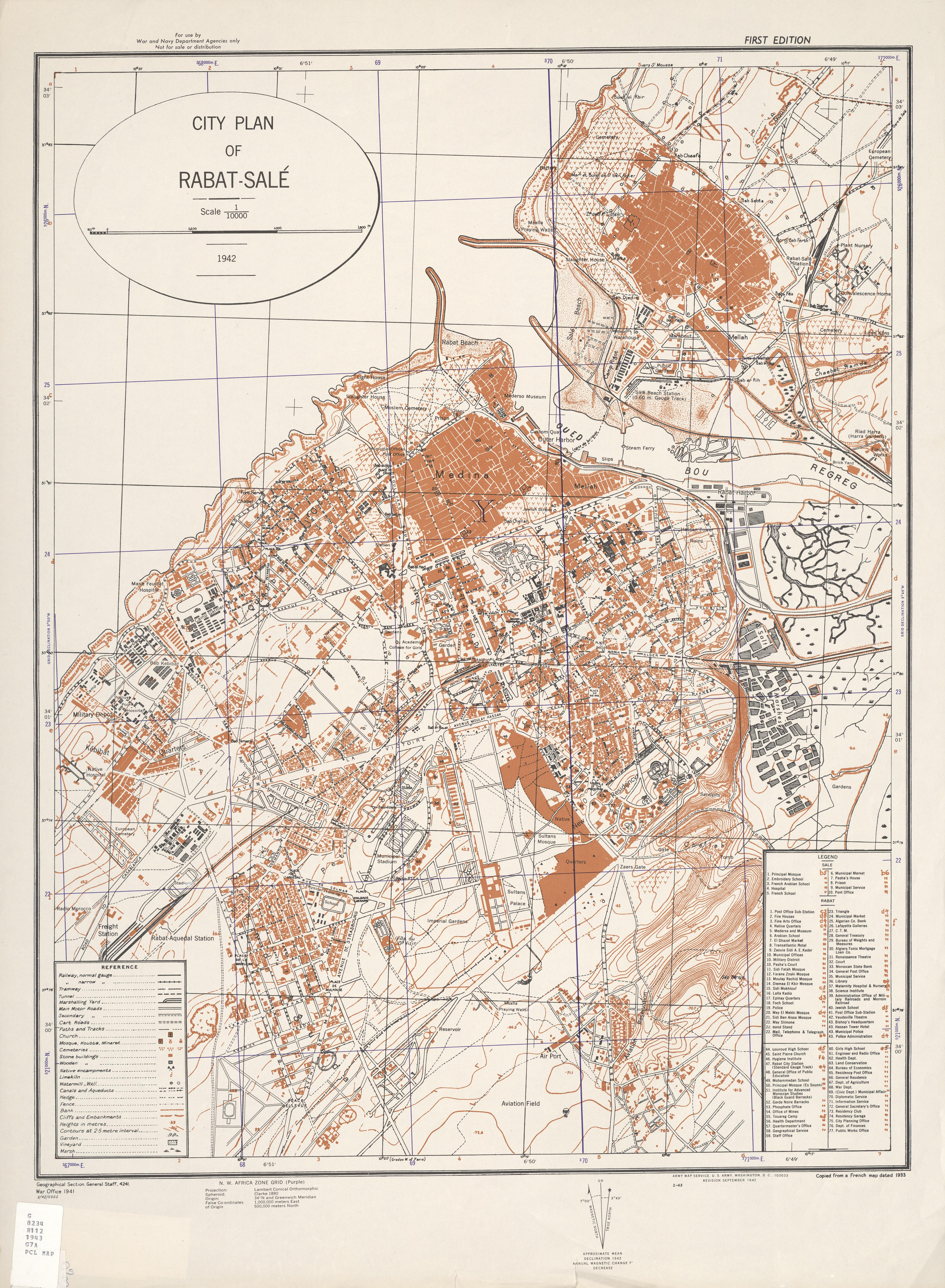 Mapa de la Ciudad de Salé, Marruecos 1942