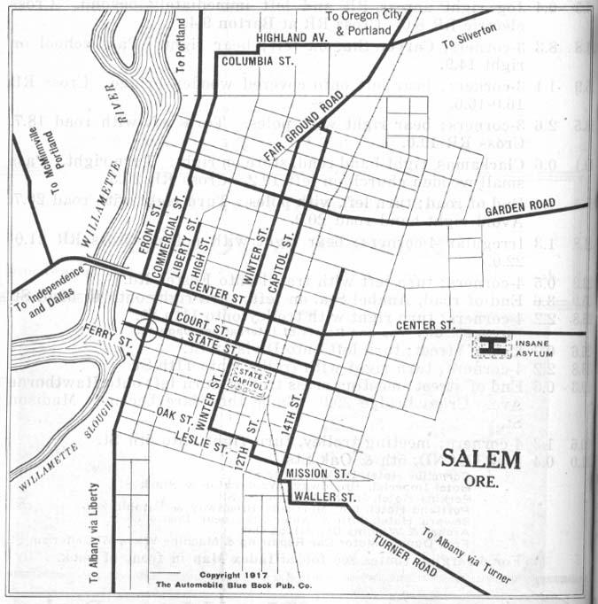 Salem City Map, Oregon, United States 1917