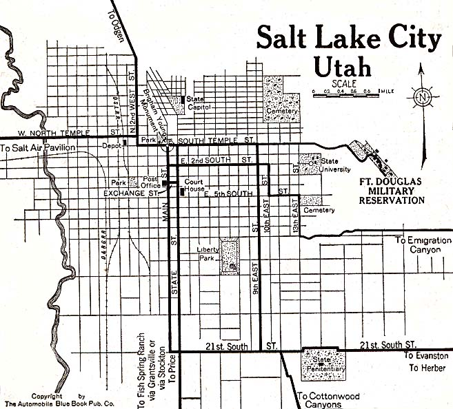Salt Lake City Map, Utah, United States 1920