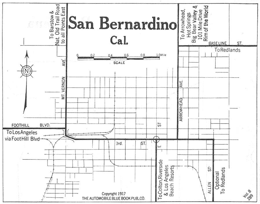 San Bernadino City Map, California, United States 1917