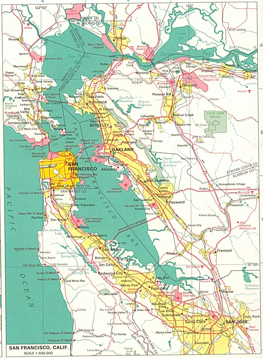 San Francisco City Map, California, United States