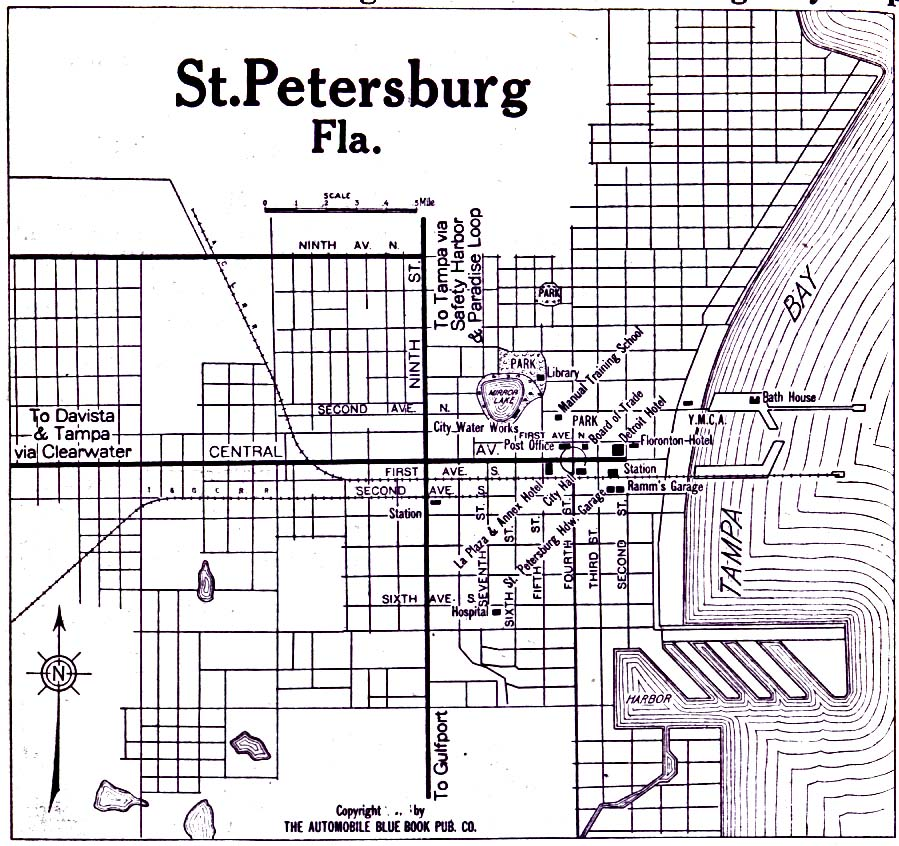 Saint Petersburg City Map, Florida, United States 1919