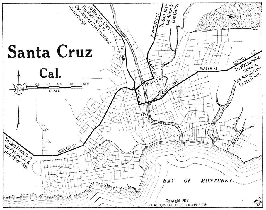 Mapa de la Ciudad de Santa Cruz, California, Estados Unidos 1917