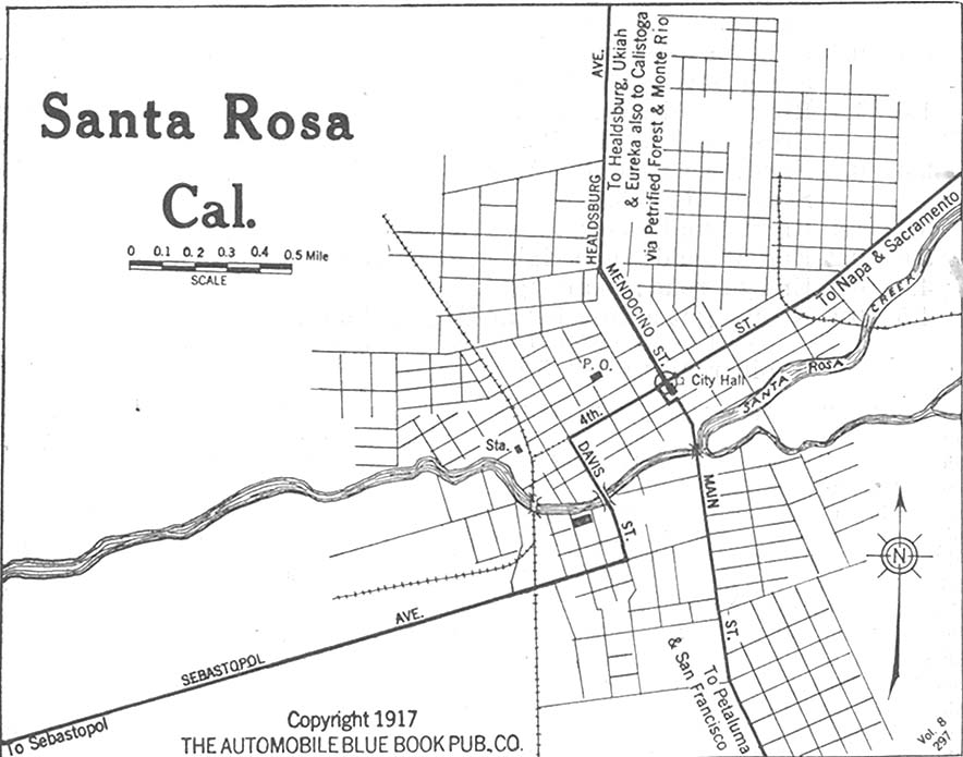 Santa Rosa City Map, California, United States 1917