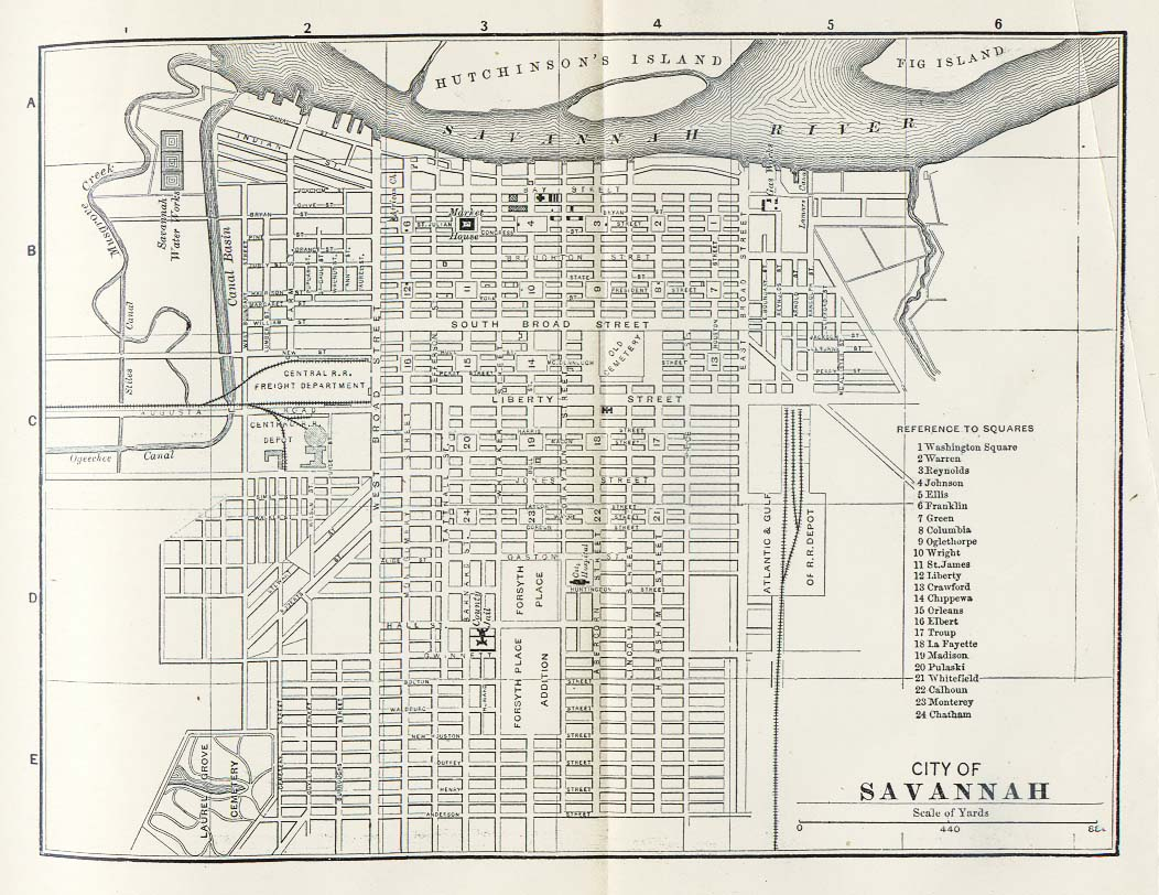 Savannah City Map, Georgia, United States 1885