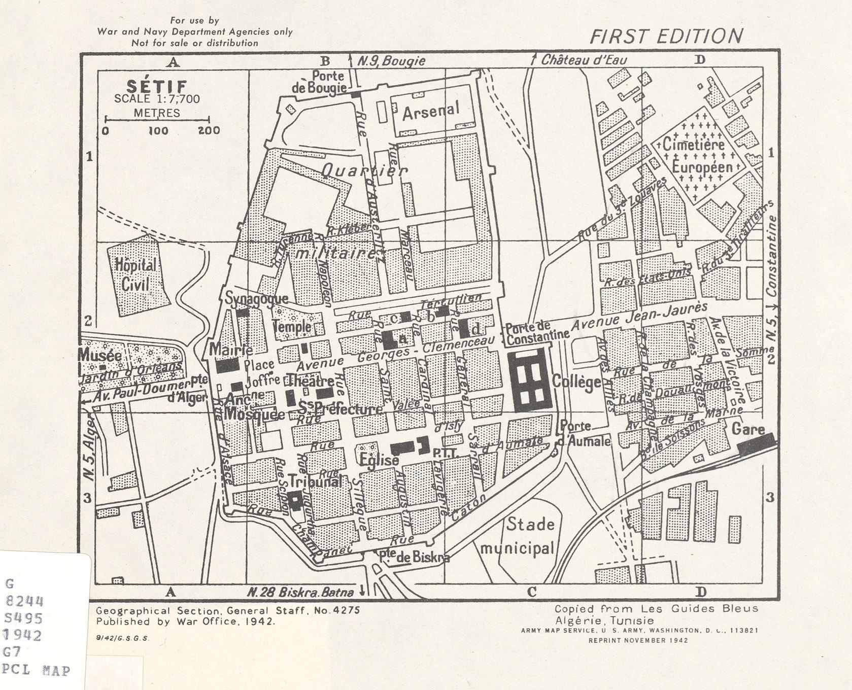 Mapa de la Ciudad de Sétif, Argelia 1942