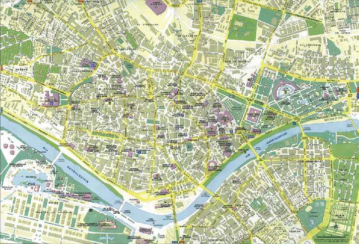 Mapa de la Ciudad de Sevilla, España