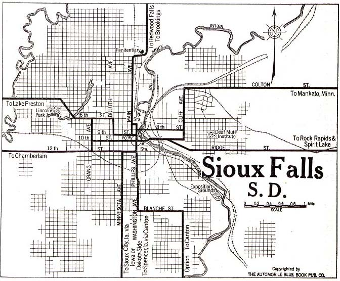 Sioux Falls City Map, South Dakota, United States 1920