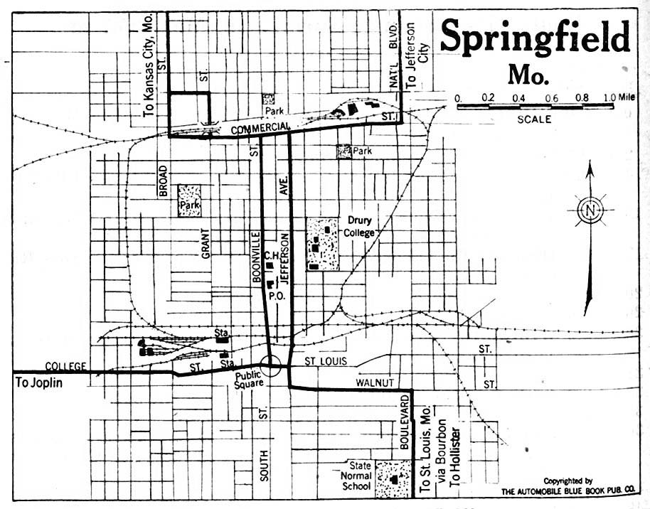 Springfield City Map, Missouri, United States 1920