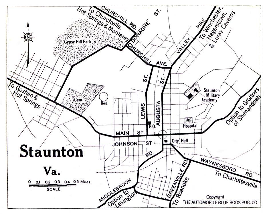 Staunton City Map, Virginia, United States 1919