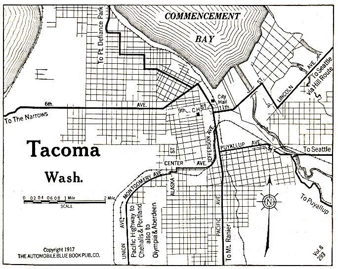 Mapa de la Ciudad de Tacoma, Washington, Estados Unidos 1917