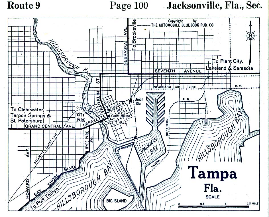 Tampa City Map, Florida, United States 1919
