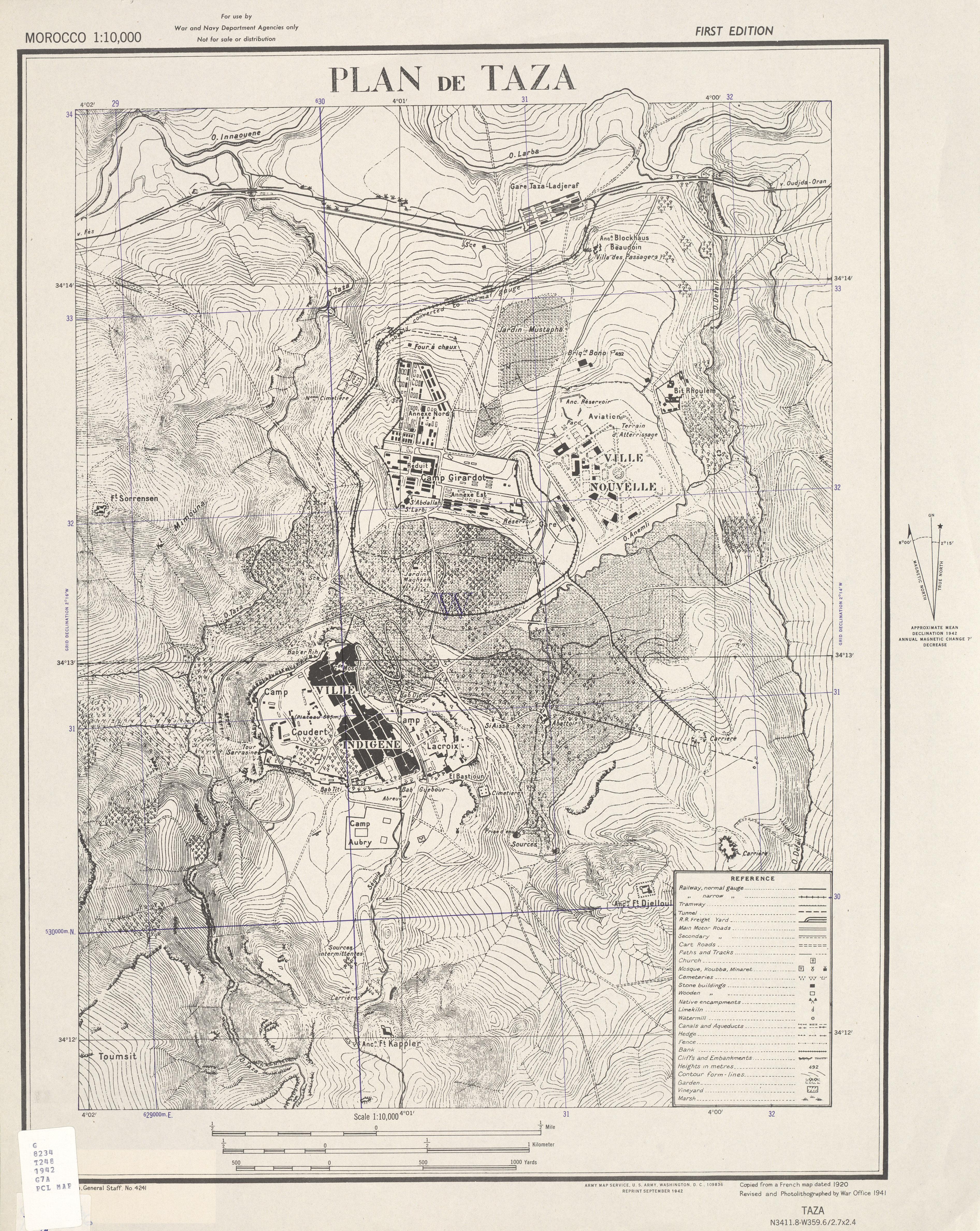 Mapa de la Ciudad de Taza, Marruecos 1942