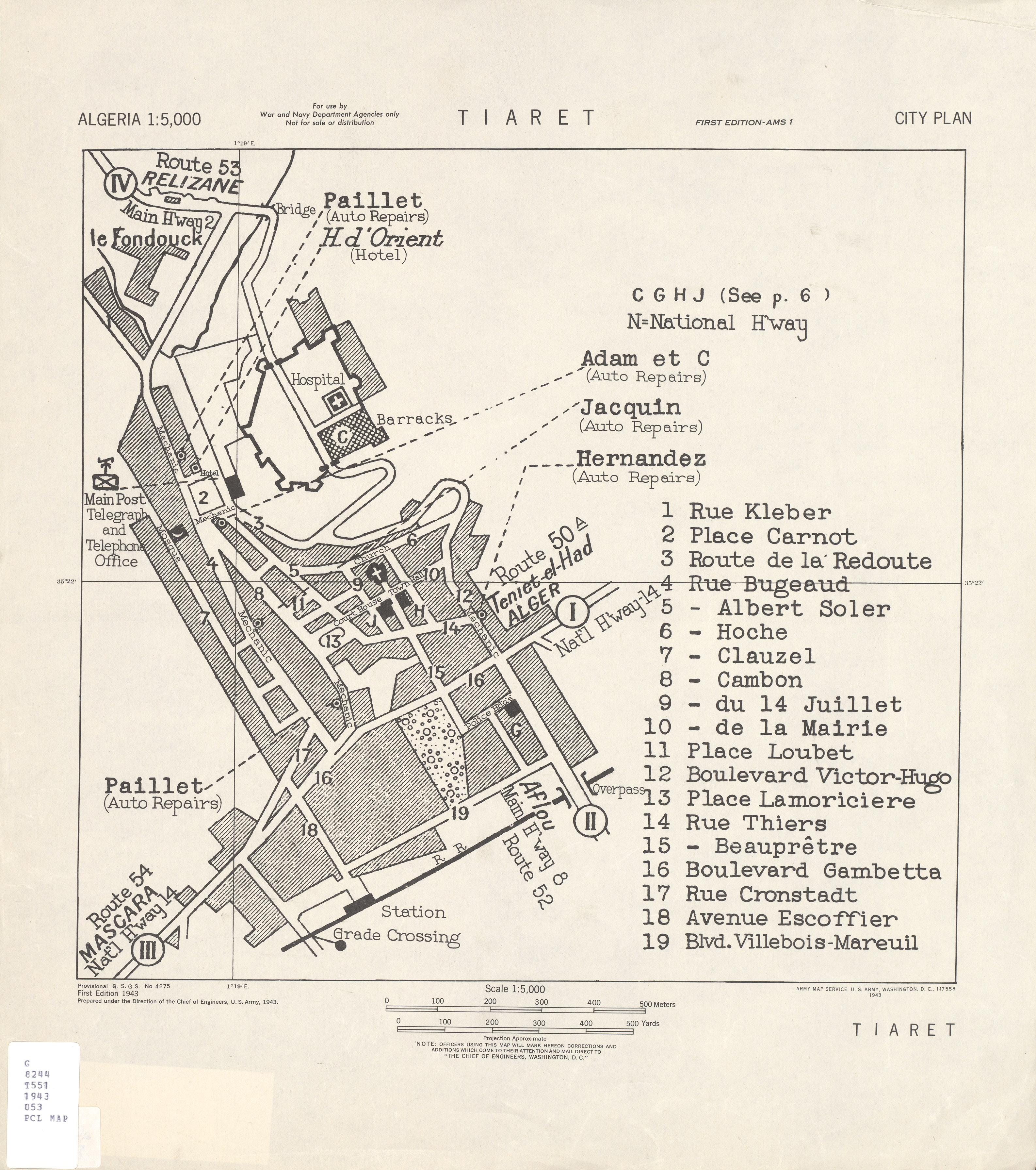 Mapa de la Ciudad de Tiaret, Argelia 1943