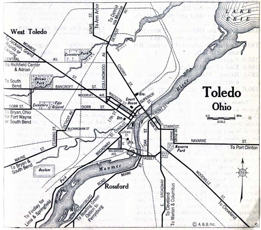Toledo City Map, Ohio, United States 1917
