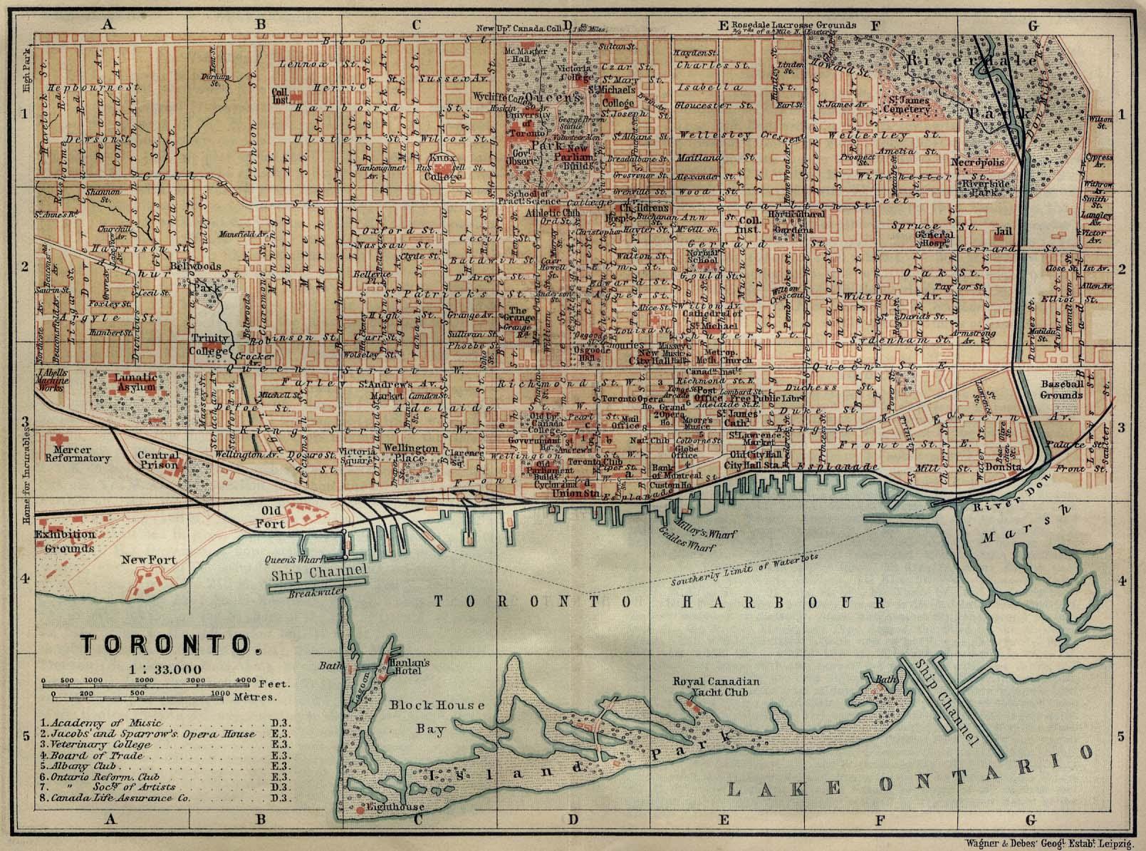 Mapa de la Ciudad de Toronto, Canadá 1894