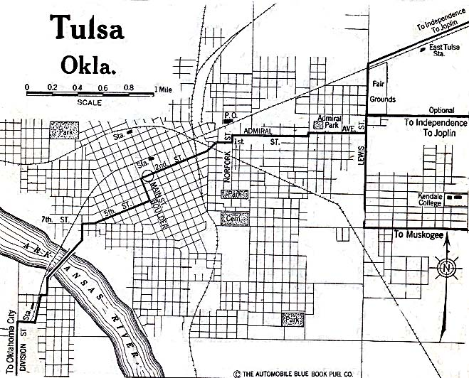Tulsa City Map, Oklahoma, United States 1920