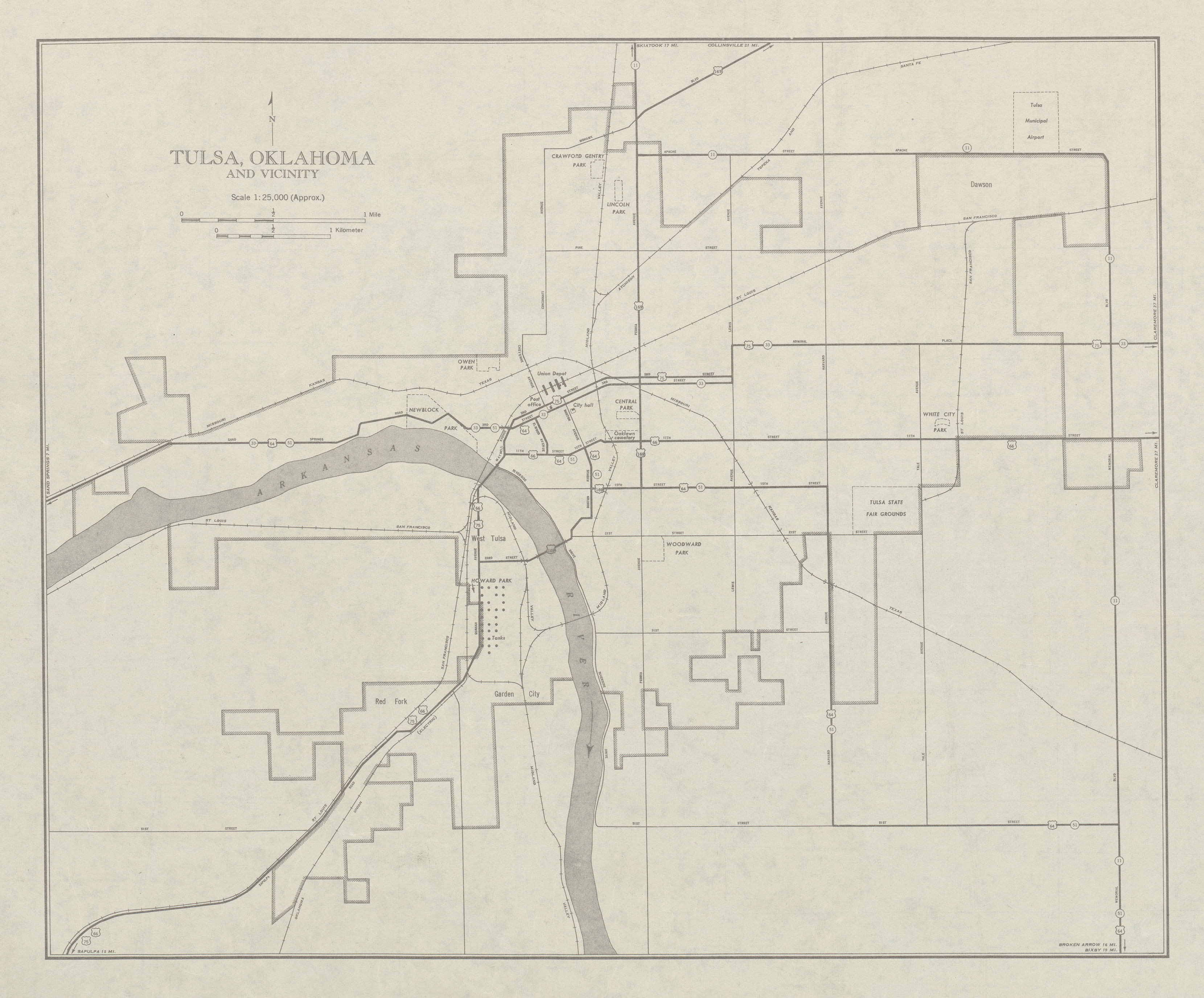 Mapa de la Ciudad de Tulsa y Cercanías, Oklahoma, Estados Unidos 1947