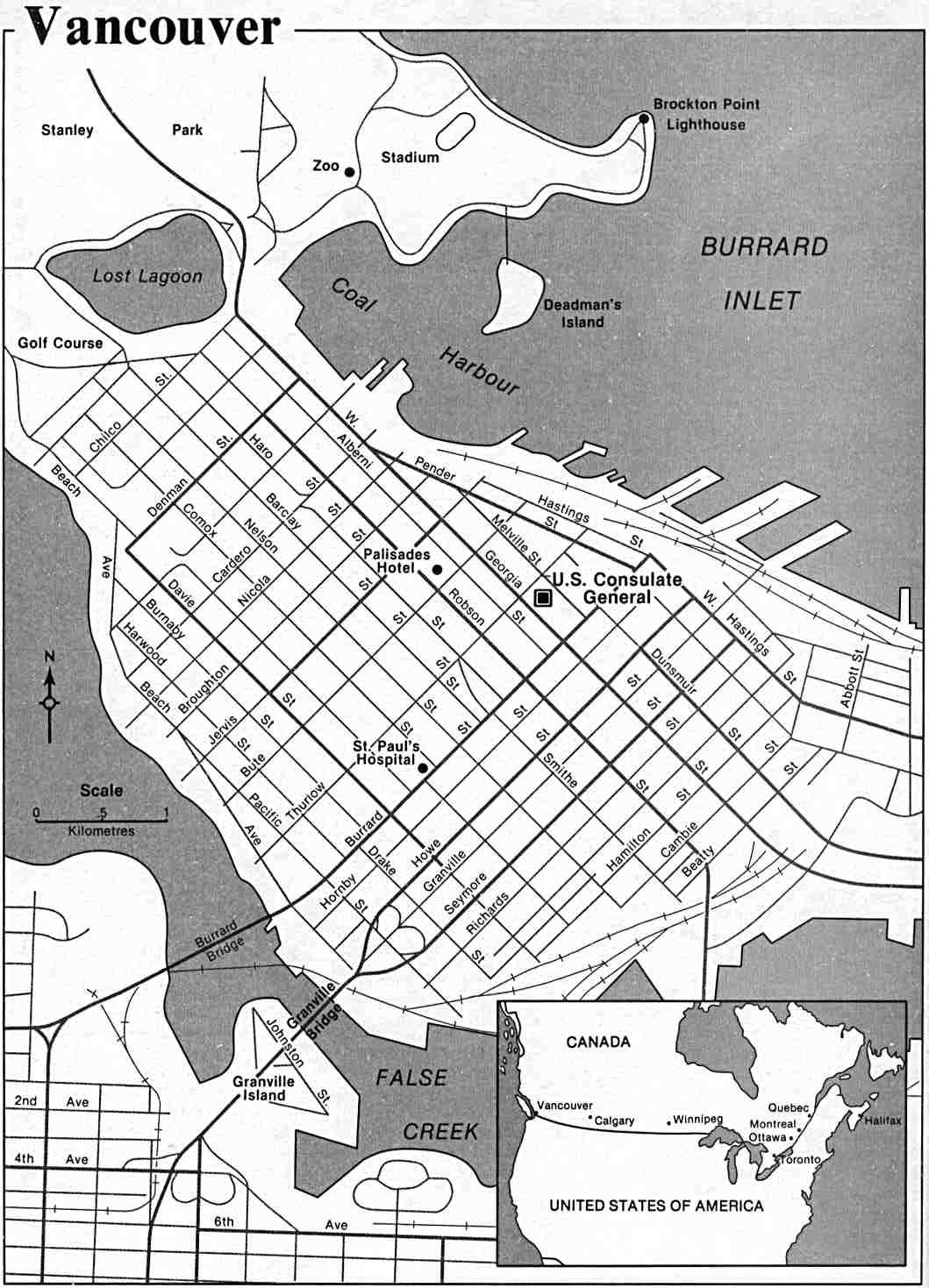 Mapa de la Ciudad de Vancouver, Columbia Británica, Canadá