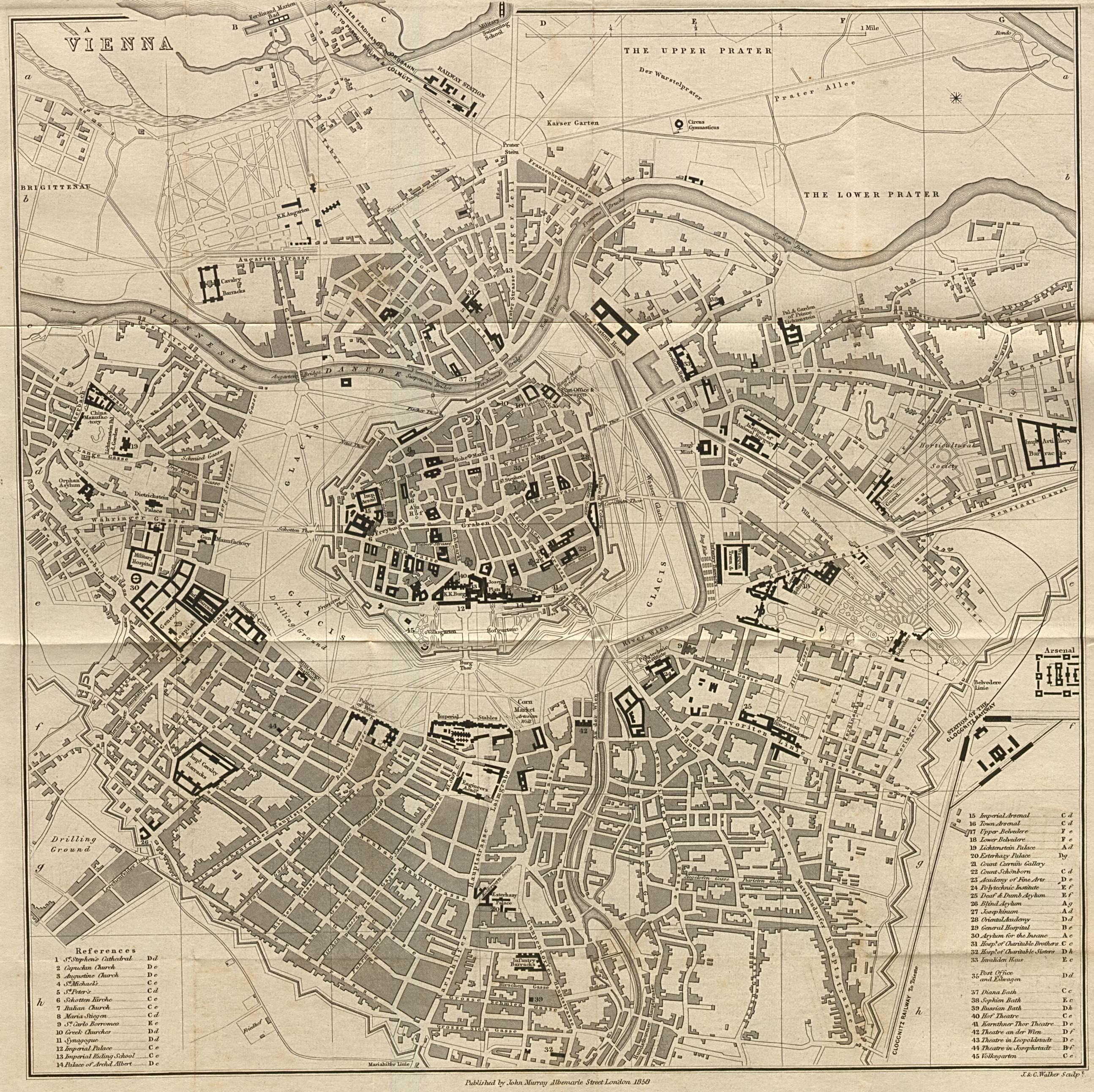 Mapa de la Ciudad de Viena, Austria 1858