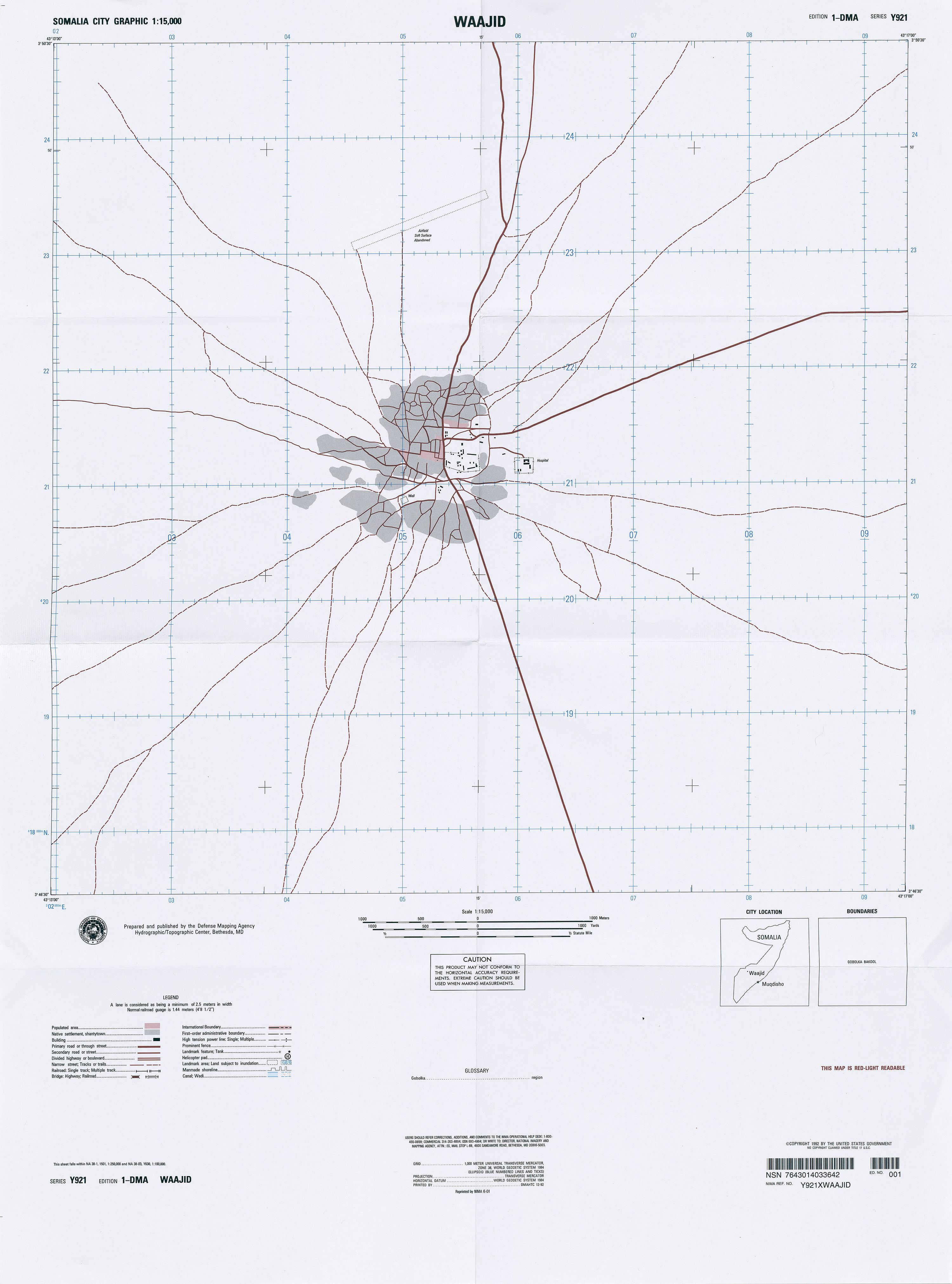 Mapa de la Ciudad de Wajid, Somalia