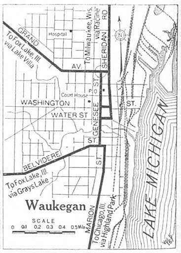 Mapa de la Ciudad de Waukegan, Illinois, Estados Unidos 1920