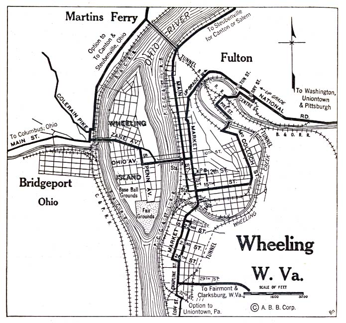Wheeling City Map, West Virginia, United States 1920