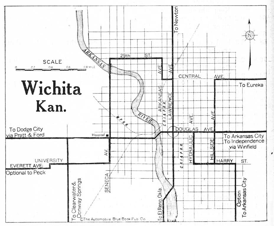 Mapa de la Ciudad de Wichita, Kansas, Estados Unidos 1920