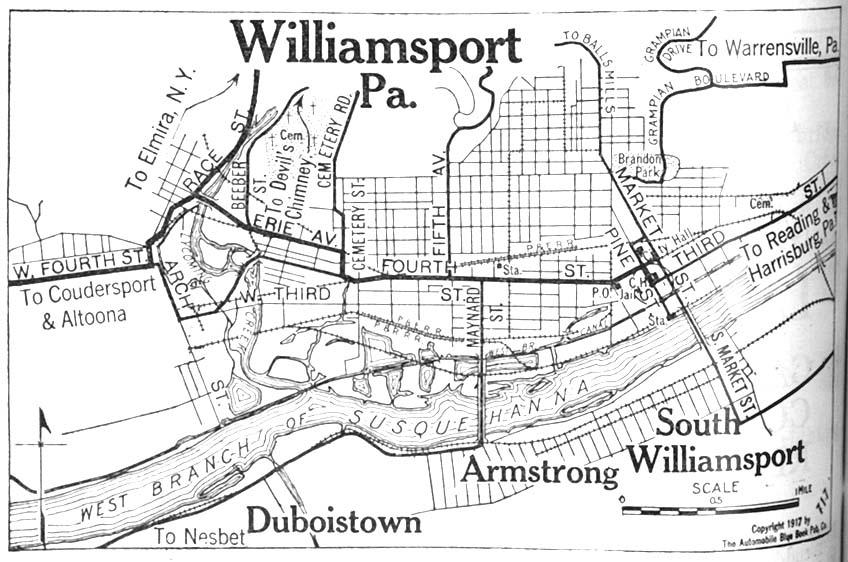 Williamsport City Map, Pennsylvania, United States 1917