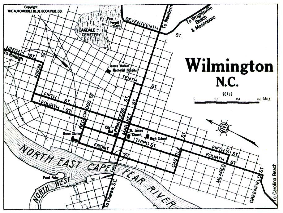 Wilmington City Map, North Carolina, United States 1919