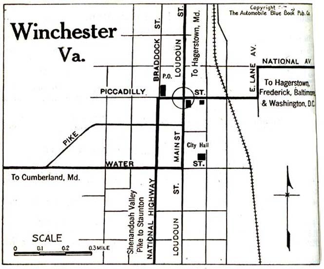 Mapa de la Ciudad de Winchester, Virginia, Estados Unidos 1920