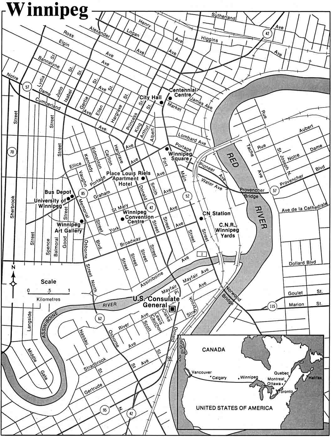 Winnipeg City Map, Manitoba, Canada