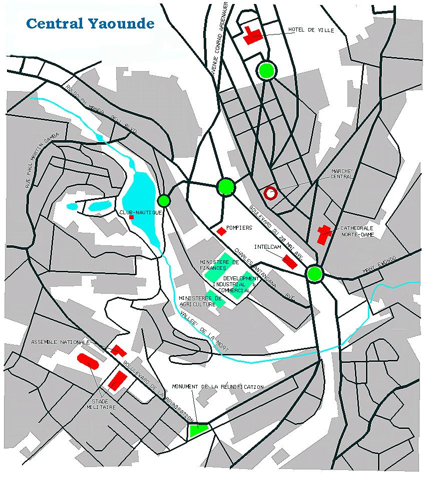 Yaoundé City Map, Cameroon