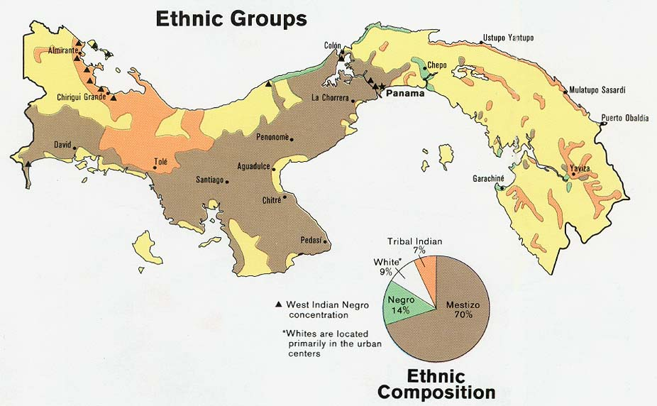 Panama Ethnic Groups and Ethnic Compostition Map