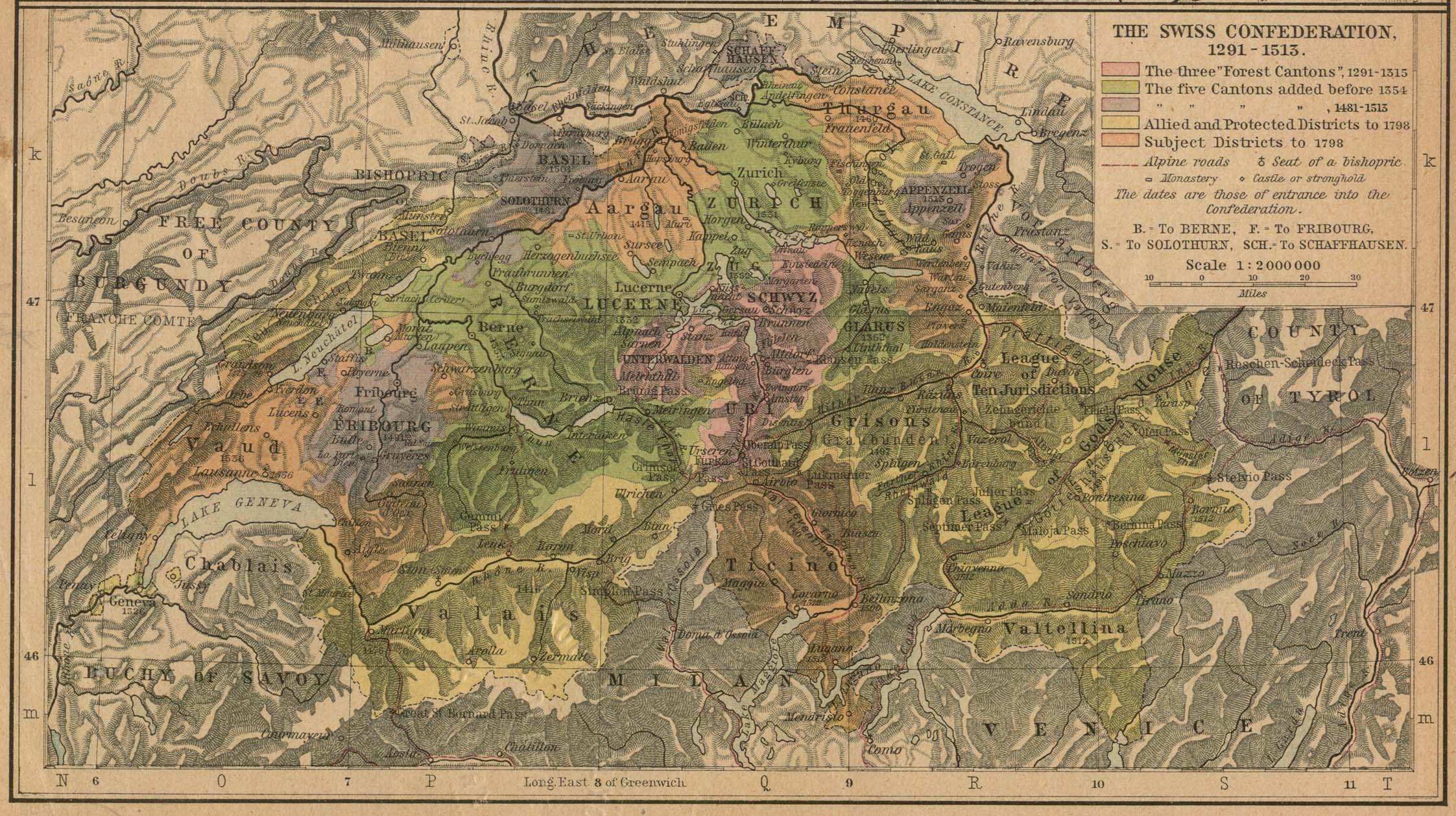 The Swiss Confederation Map 1291 - 1513