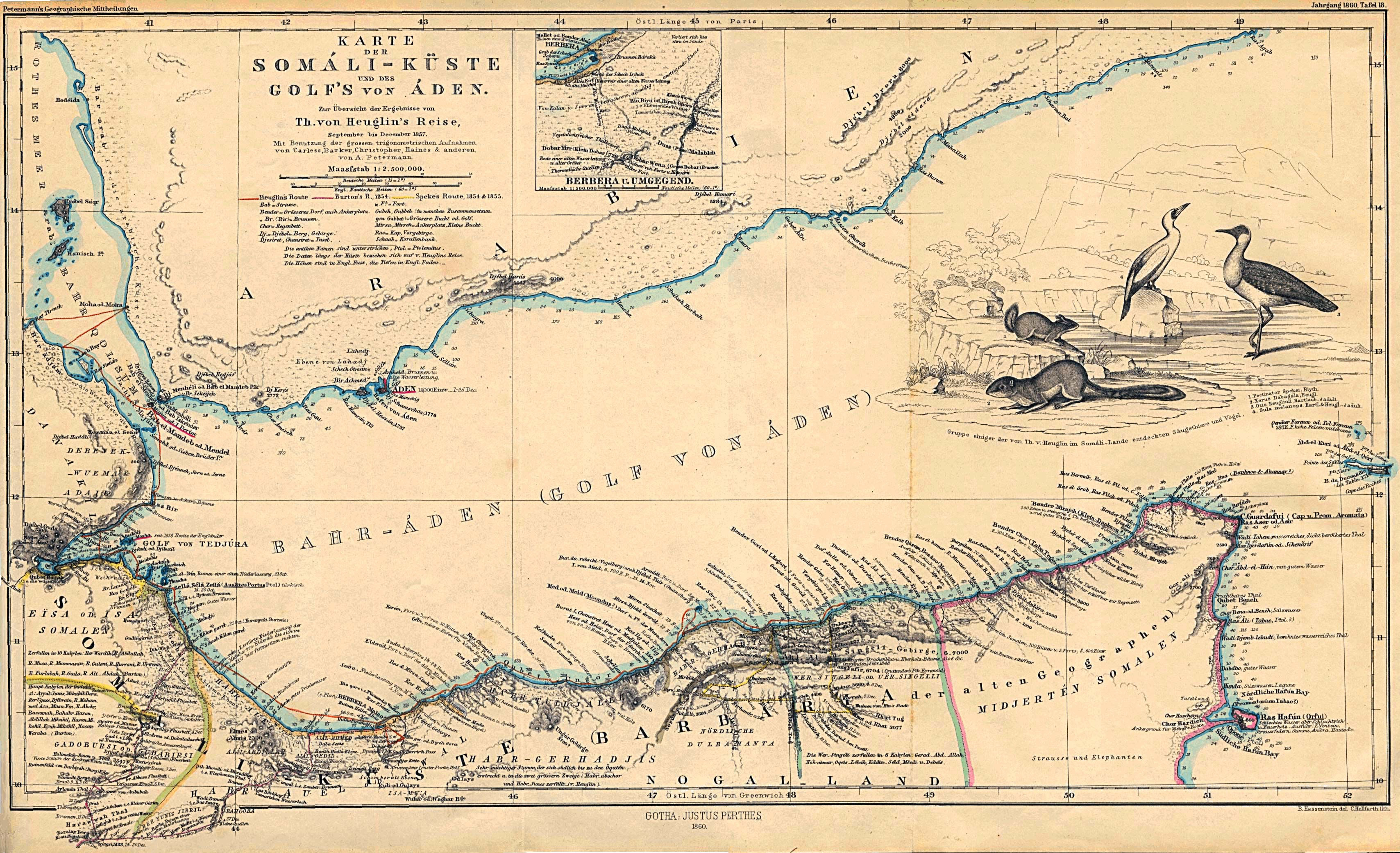 Map of the Somali Coast and Aden Gulf 1860