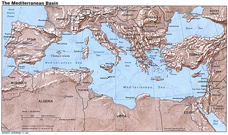 Mapa de la Cuenca Mediterránea 1982