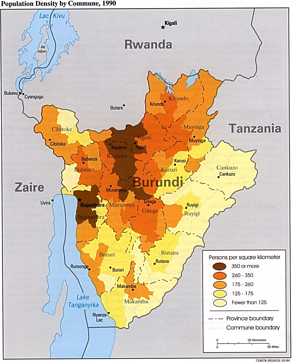 Population Density Map, Burundi