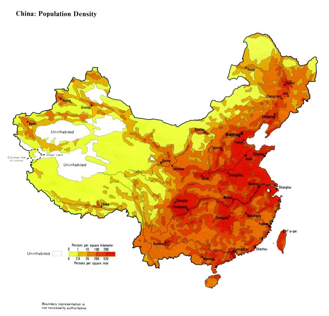 Mapa de la Densidad Poblacional de China