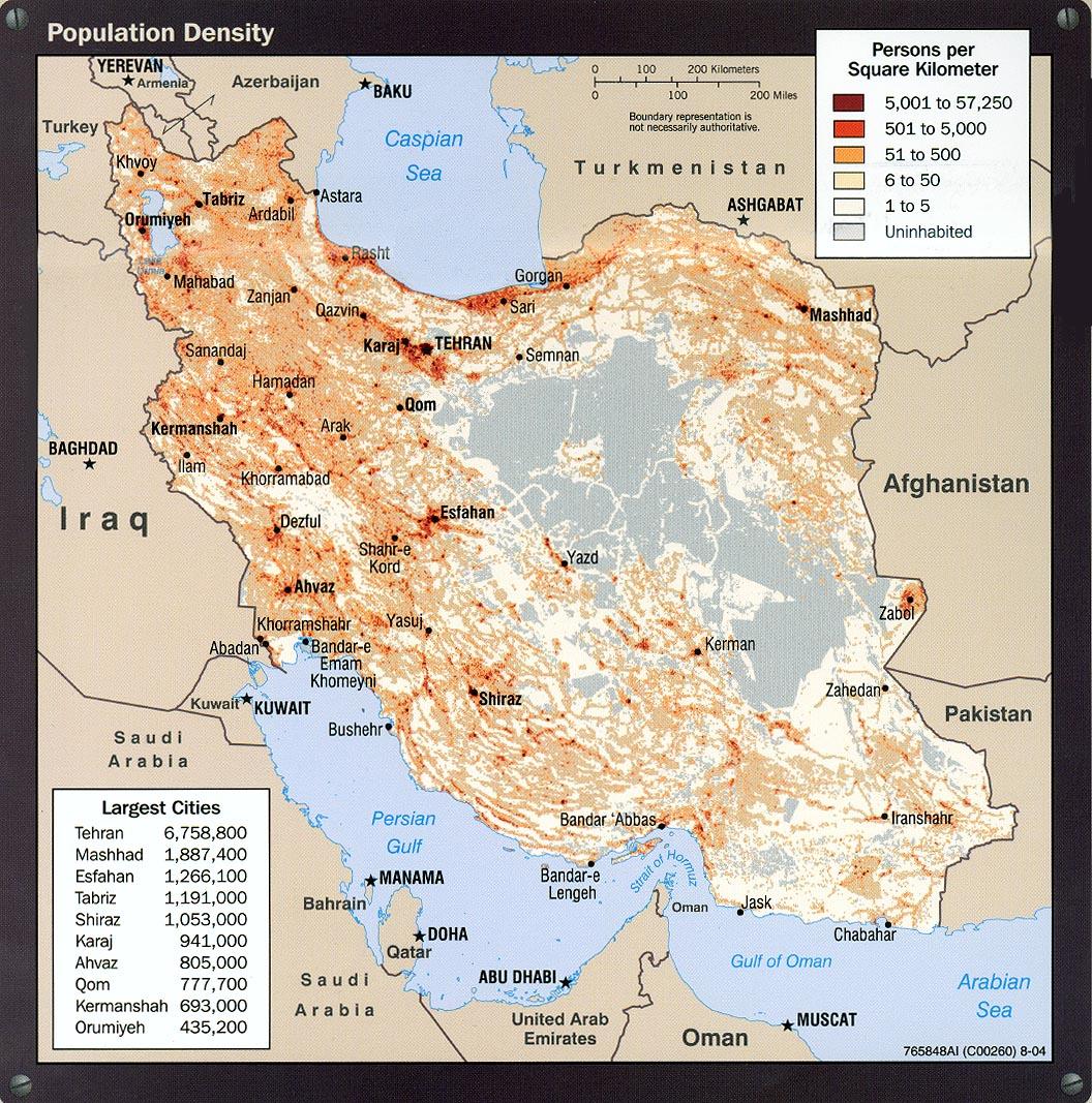 Mapa de la Densidad Poblacional de Irán